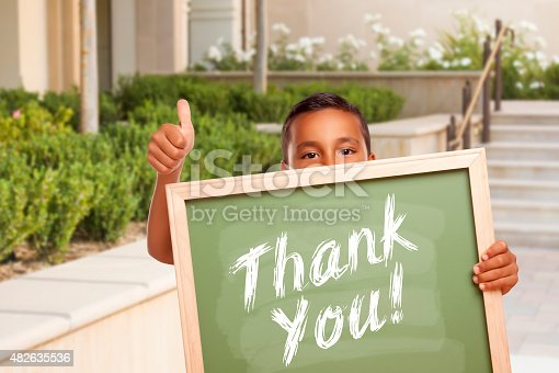 istock Boy Giving Thumbs Up Holding Thank You Chalk Board 482635536