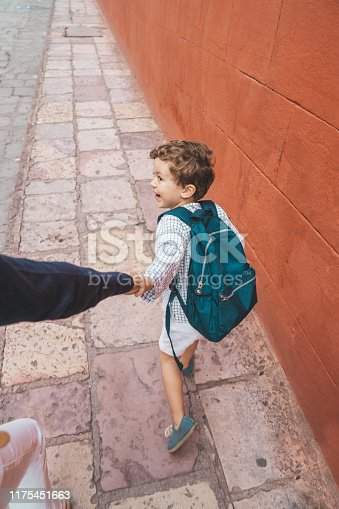 Boy going back to school in Mexico