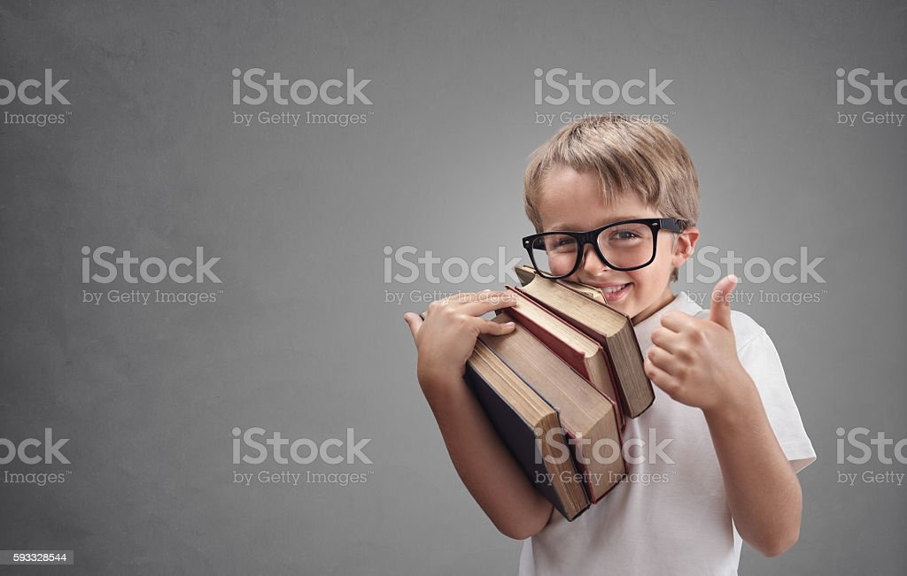 Boy going back to school stock photo