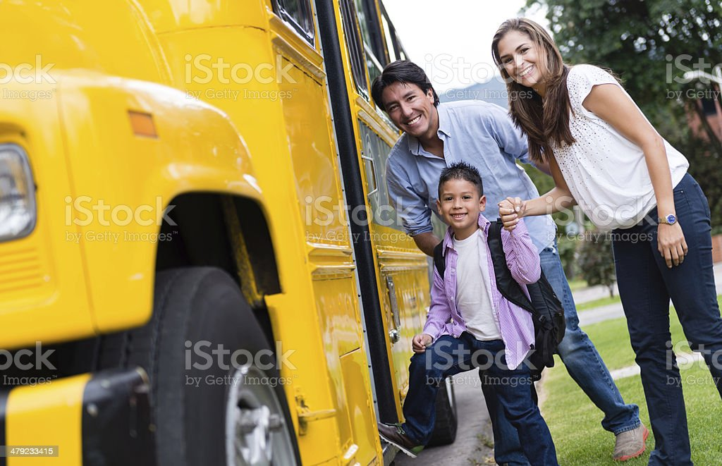 Boy going to school stock photo