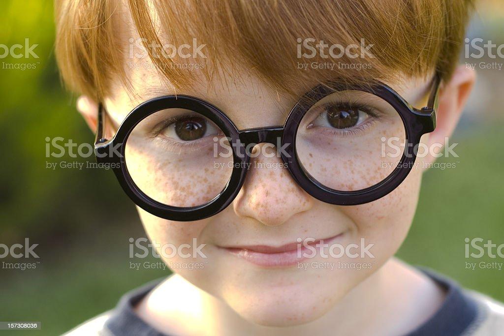 Boy Harry Potter, Child Wearing Black Glasses, Halloween Costume & Eyeglasses royalty-free stock photo