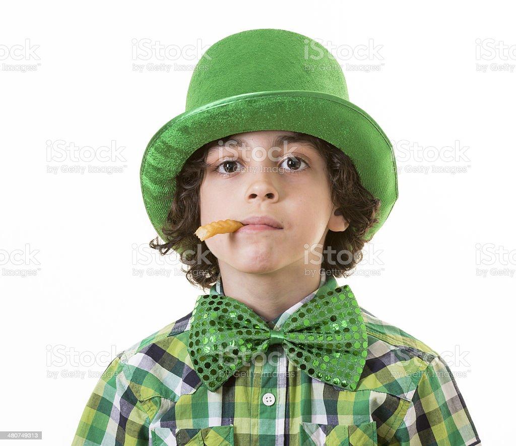 Boy having fun during St. Patrick's day royalty-free stock photo