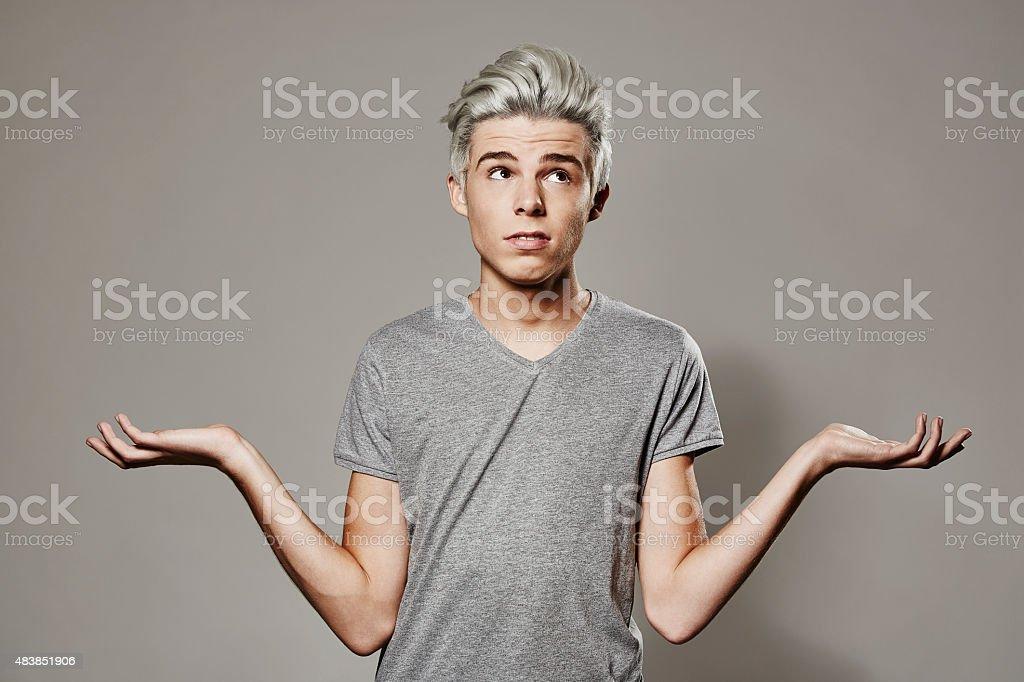 Boy having no idea stock photo