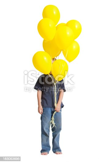 istock Boy hiding behind a bunch of yellow balloons in his hand 183063695
