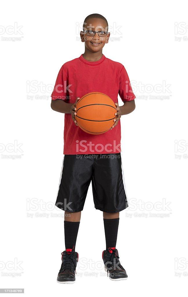 Boy Holding A Basketball stock photo