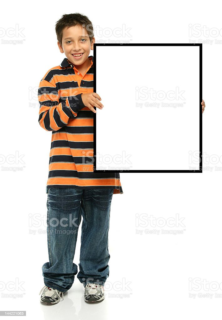 Boy holding a blank sign royalty-free stock photo