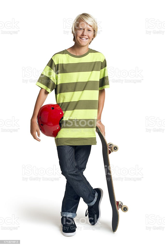 Boy Holding a Skateboard on the White Background stock photo
