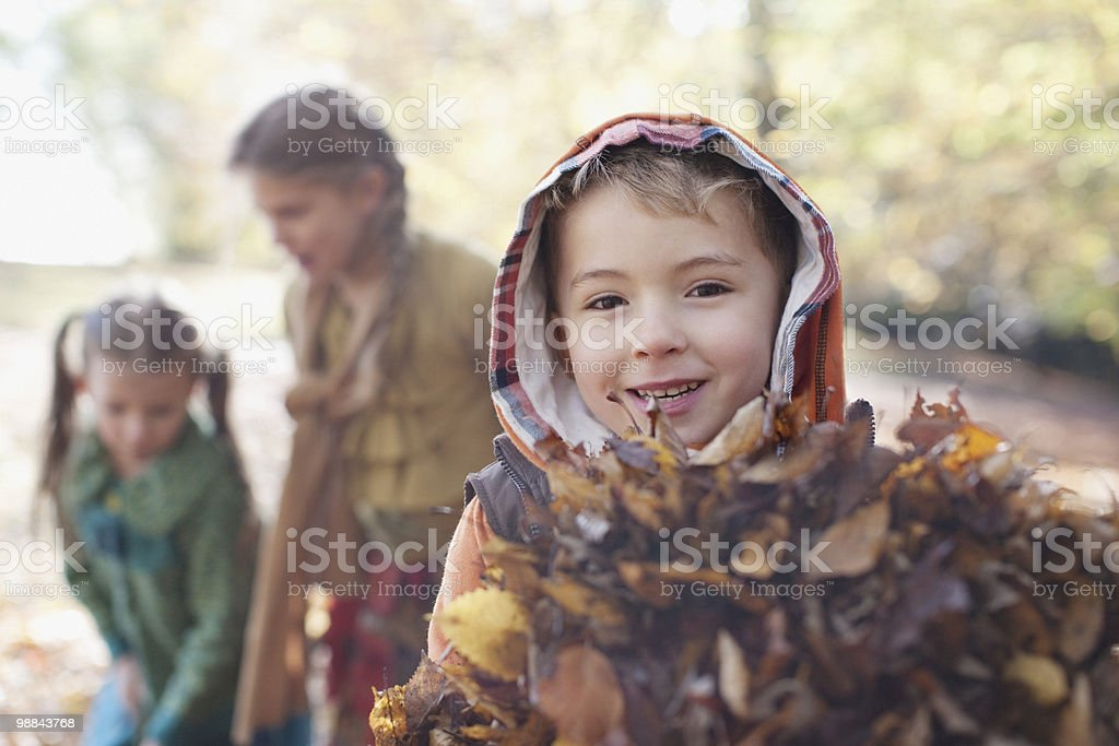 Boy holding armful of autumn leaves royalty-free stock photo