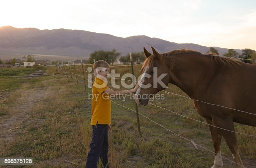 istock Boy holding barbed wire fence with horse 898375128