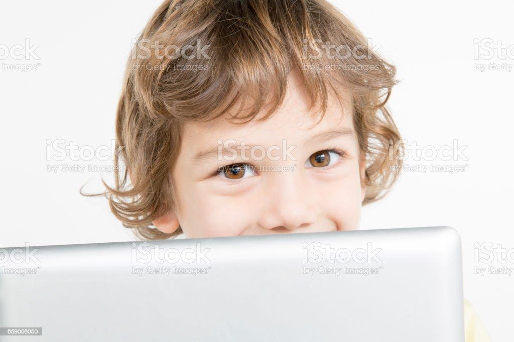 Boy holding digital tablet royalty-free stock photo