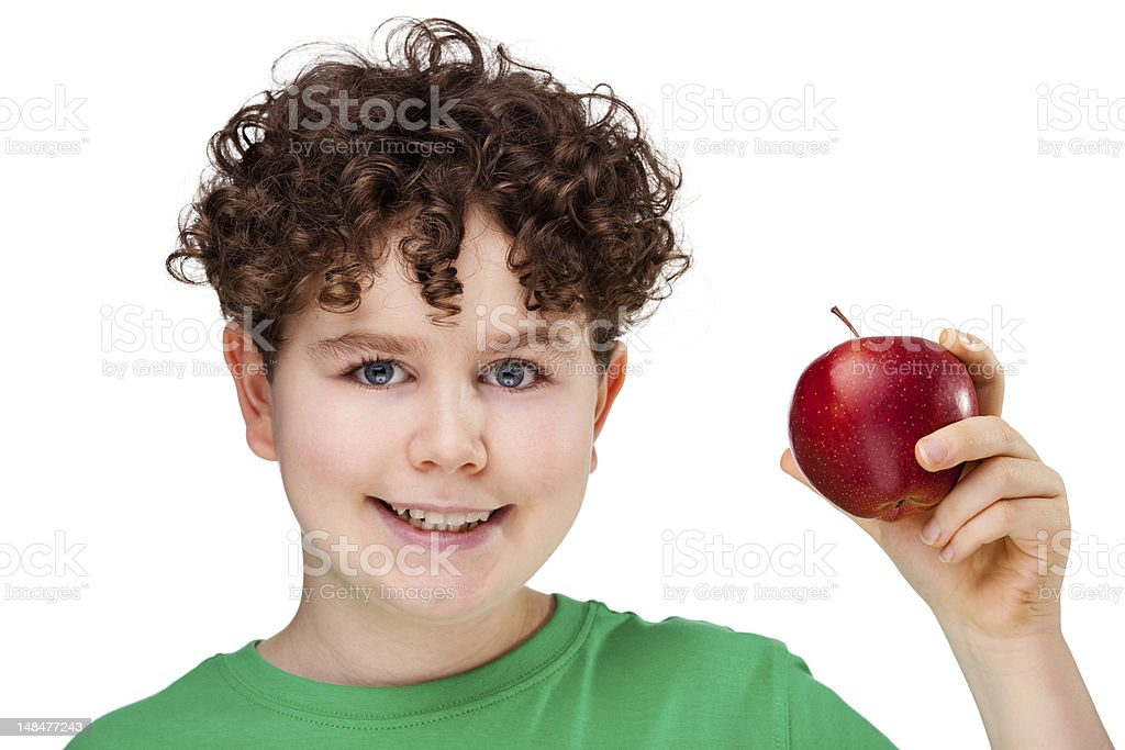 Boy holding red apple isolated on white background royalty-free stock photo