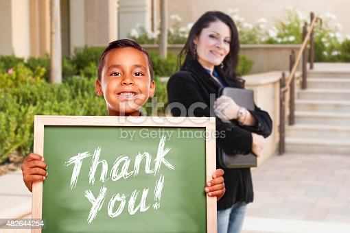 istock Boy Holding Thank You Chalk Board with Teacher Behind 482644254