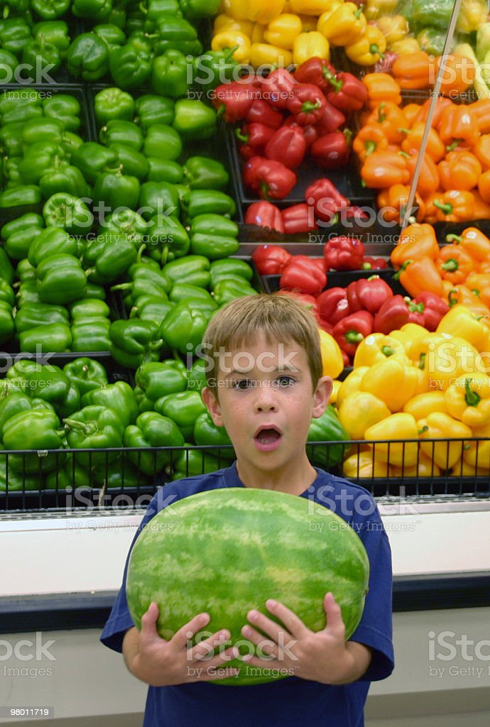 Boy Holding Watermelon royalty-free stock photo