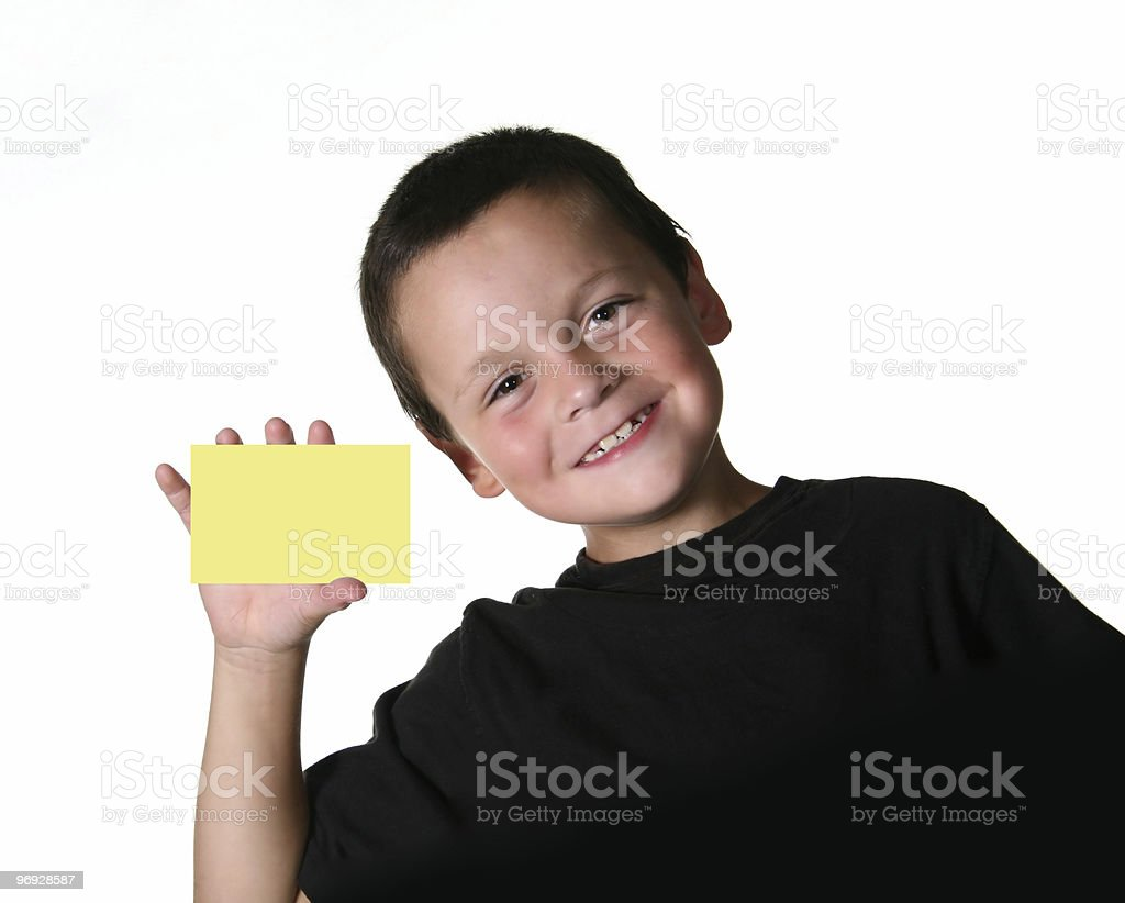 Boy Holding Yellow Paper royalty-free stock photo