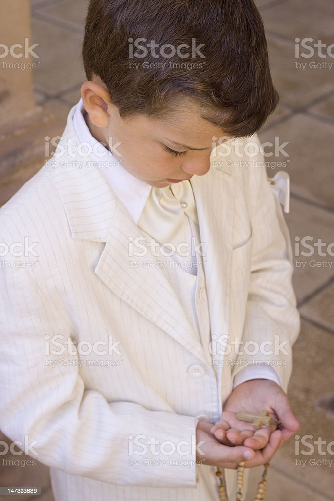 Boy Holy Communion stock photo