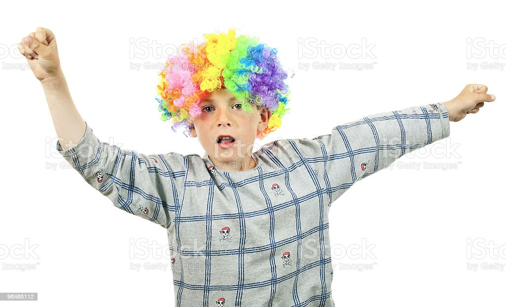 Boy in a wig royalty-free stock photo
