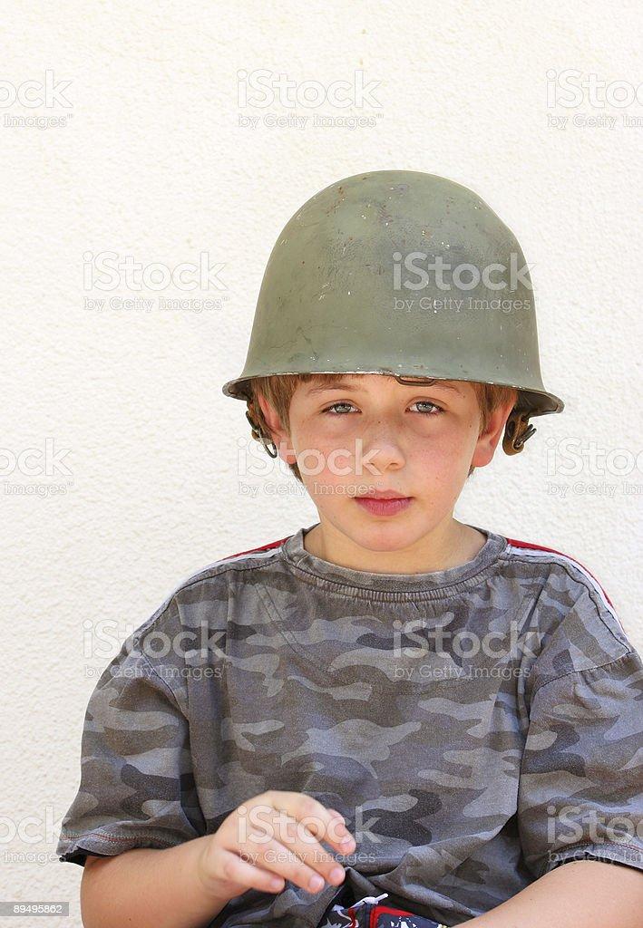 Chłopiec w stary Hełm cztery zbiór zdjęć royalty-free