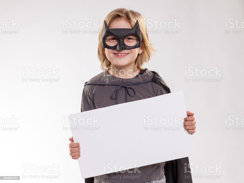 Boy in Batman Costume stock photo