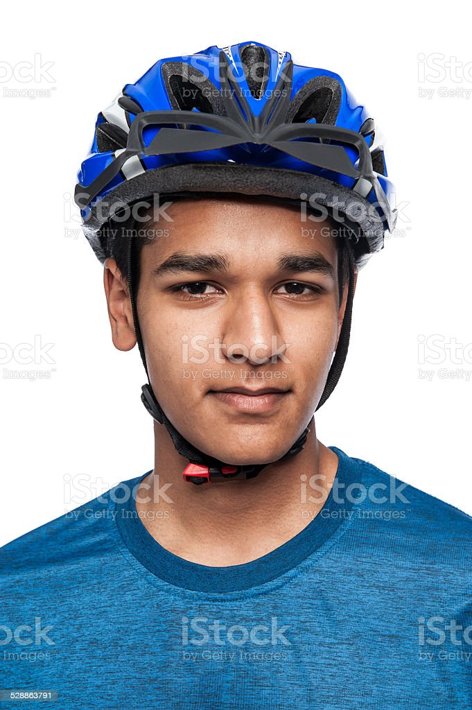 Boy in Blue Bike Helmet. stock photo