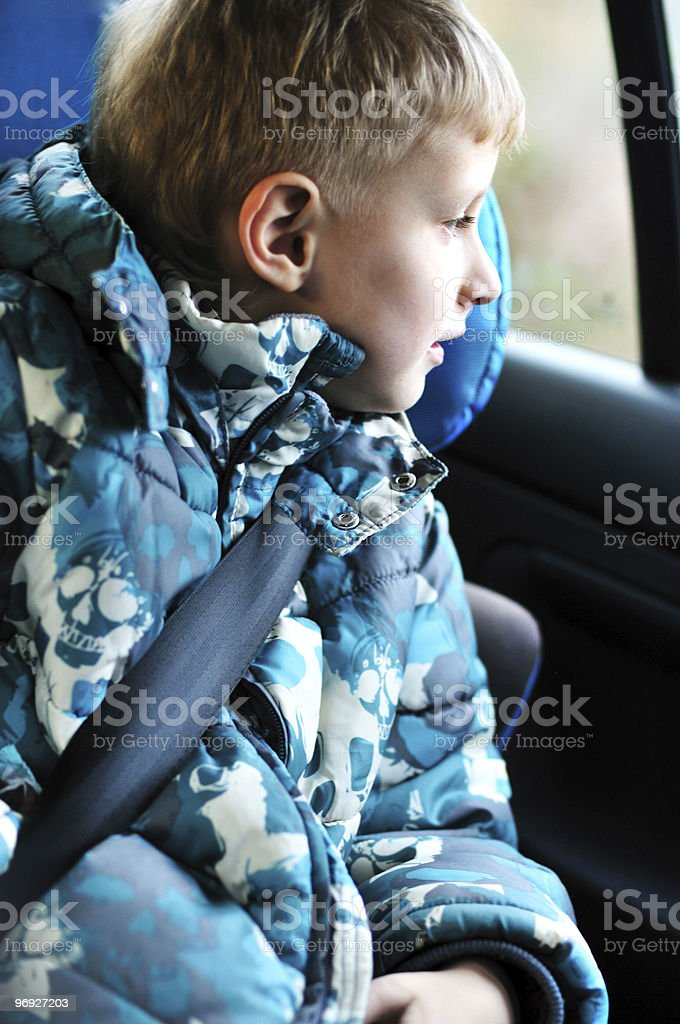 boy in carseat royalty-free stock photo