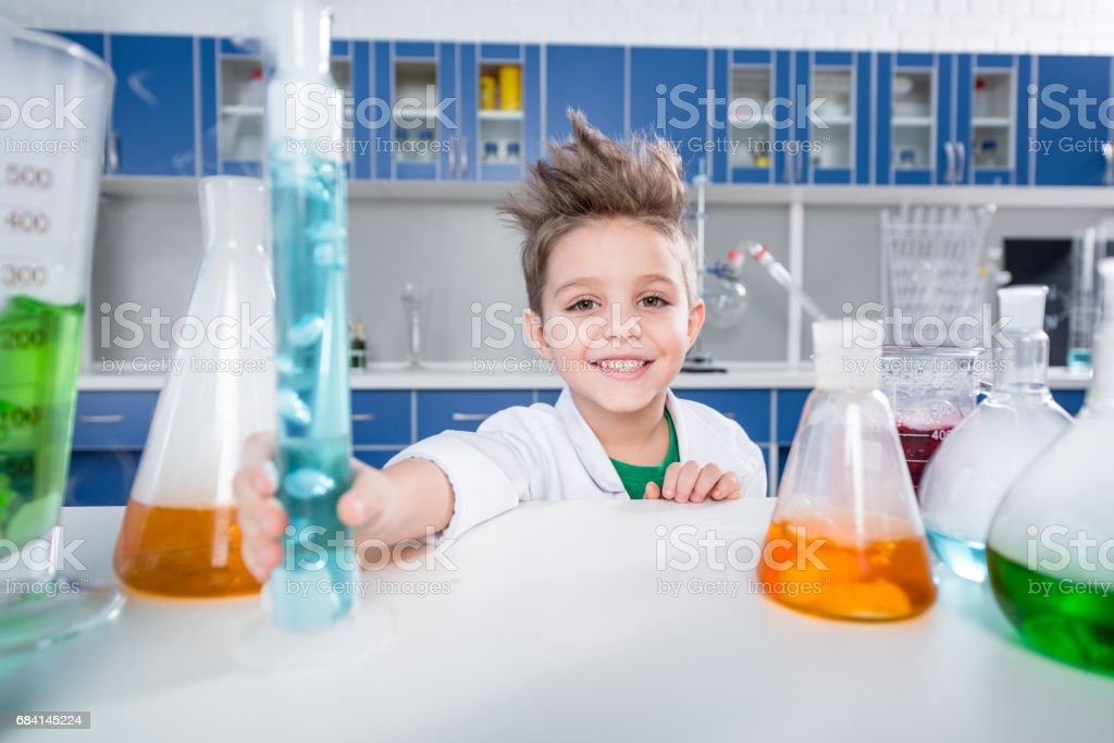 Boy in chemical lab royalty-free stock photo