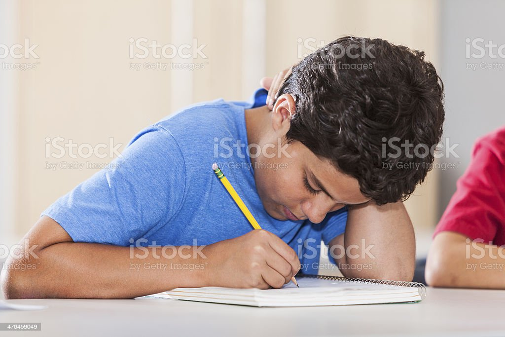 Boy in classroom royalty-free stock photo