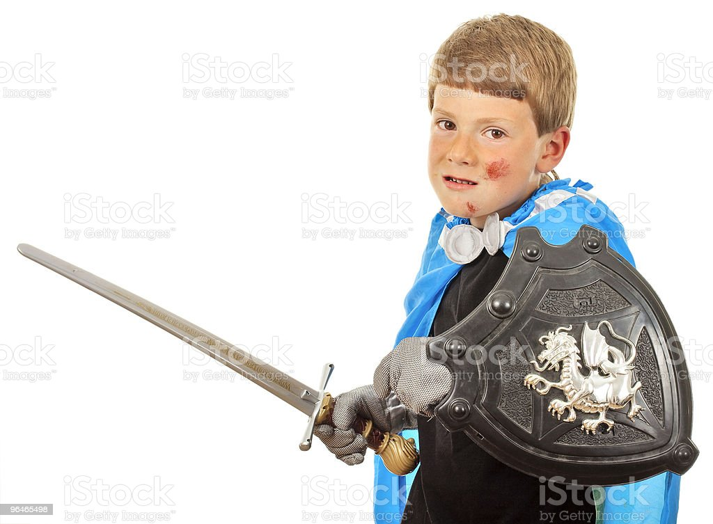 Boy in costume knight play royalty-free stock photo