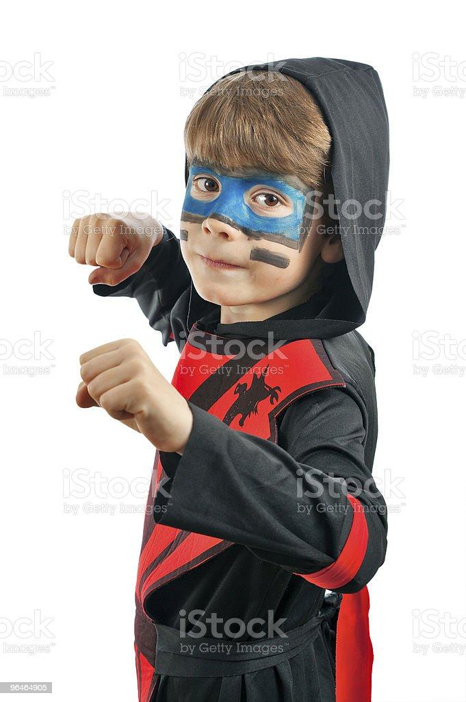 Boy in costume ninja royalty-free stock photo