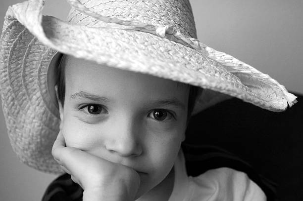 Boy in cowboy hat. stock photo