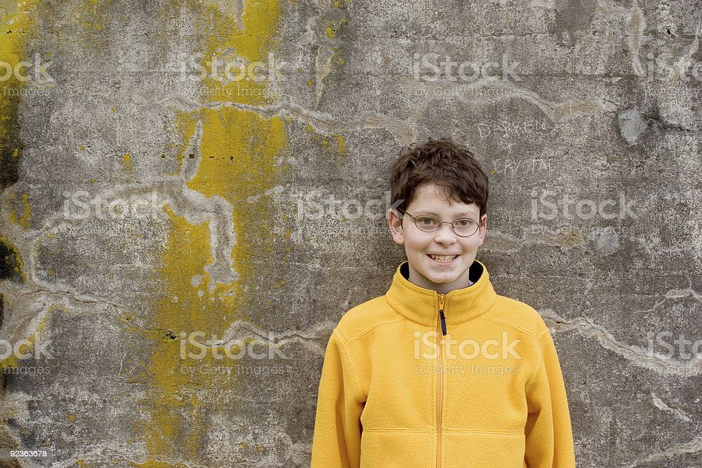 Boy in  Fleece Pullover royalty-free stock photo
