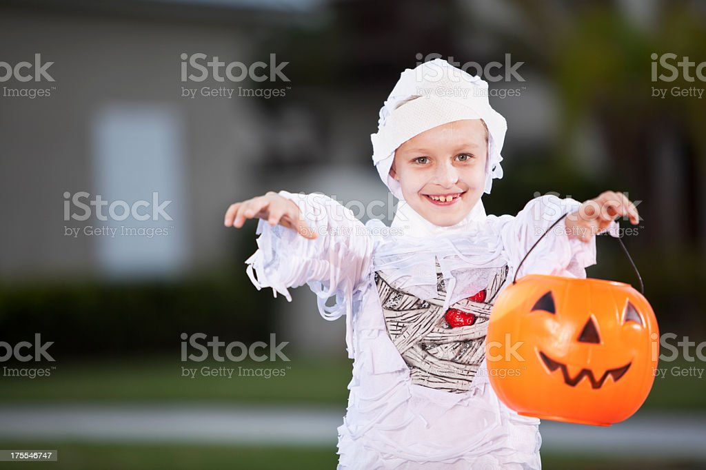 Boy in halloween costume stock photo