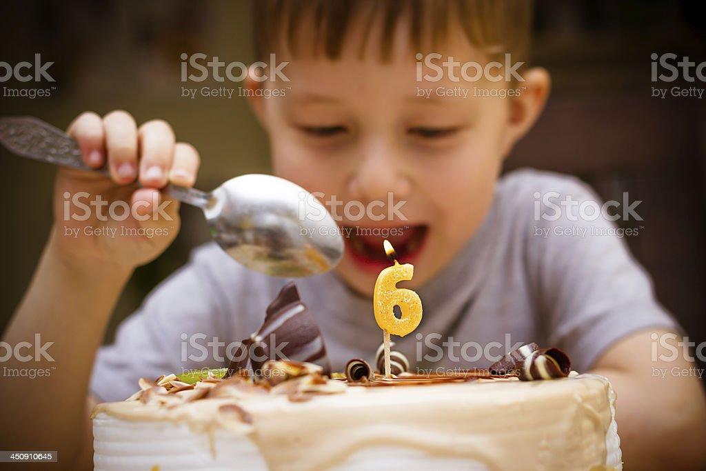Boy in his birthday stock photo