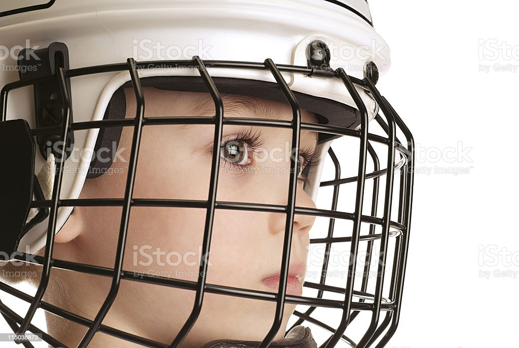 Boy in hockey helmet royalty-free stock photo