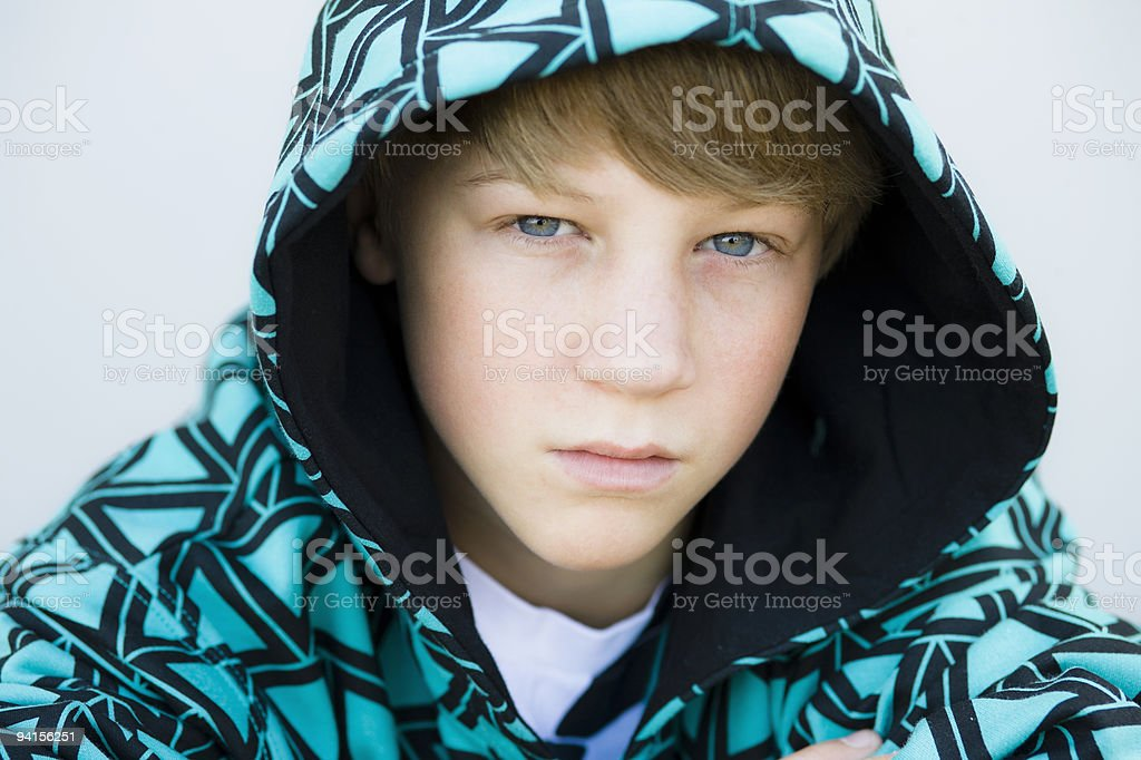 Boy in Hood Looking to Camera royalty-free stock photo