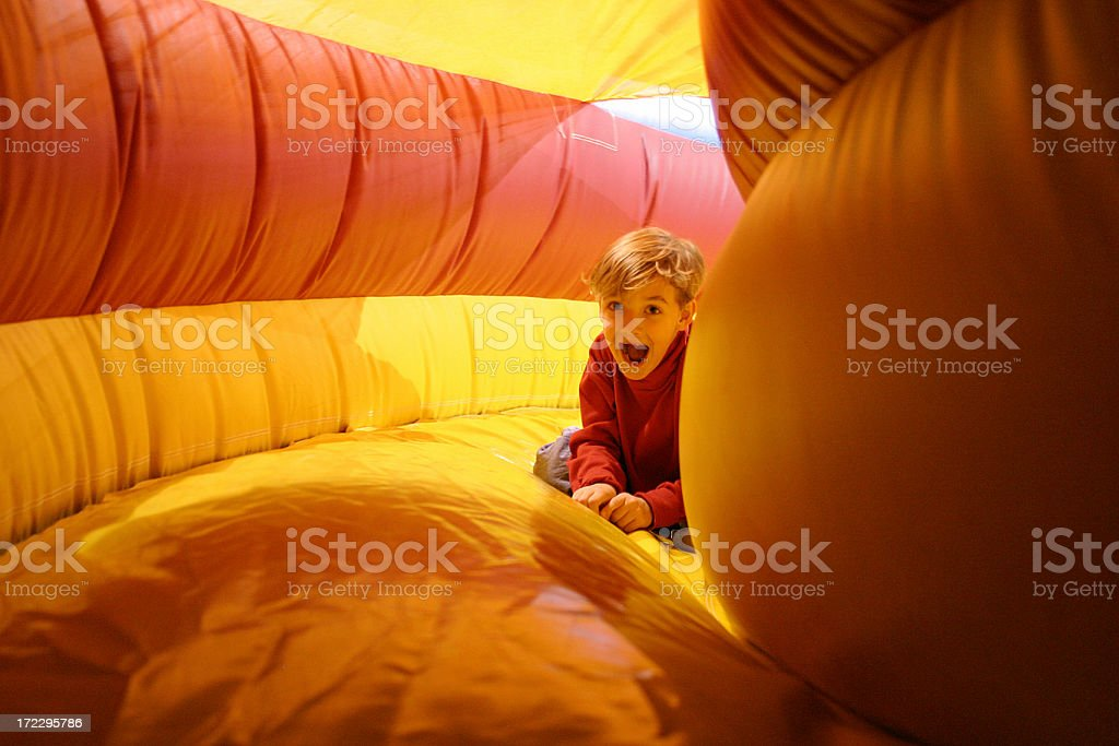 boy in inflatable stock photo