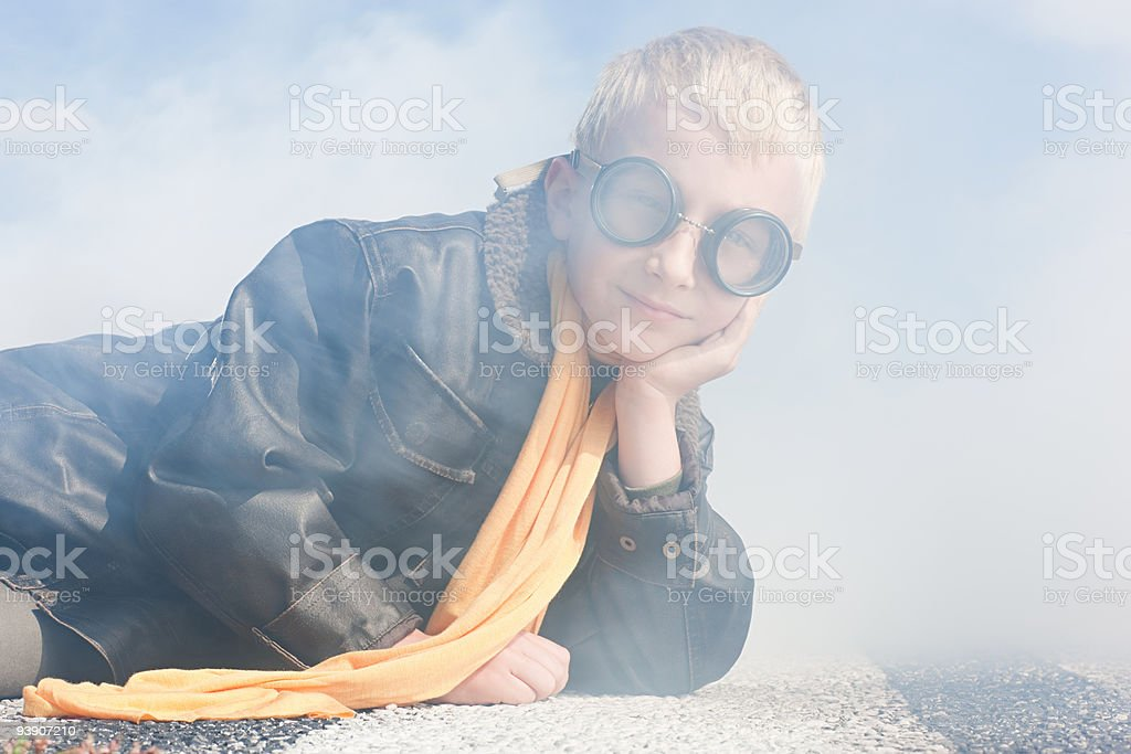 Boy in pilot costume royalty-free stock photo