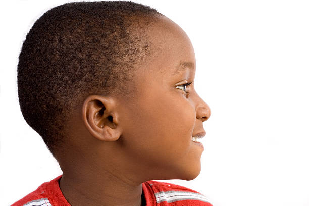 boy in profile stock photo