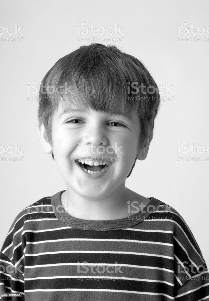 Boy in studio black and white royalty-free stock photo