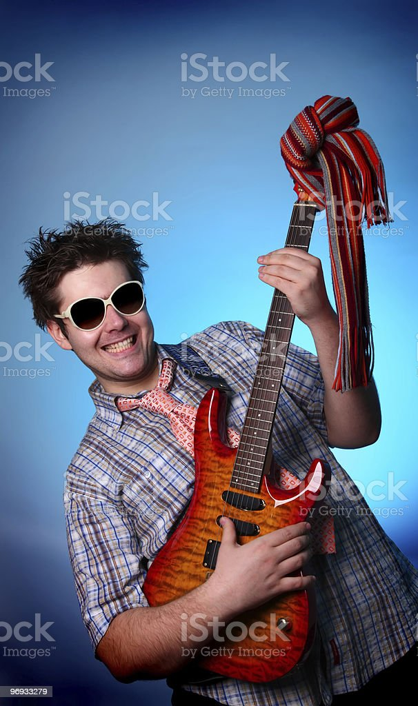 Boy in sunglasses with guitar royalty-free stock photo