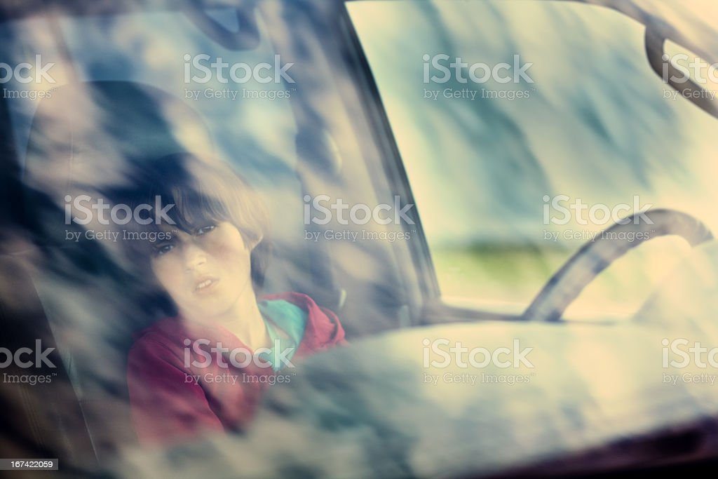 boy in the car royalty-free stock photo