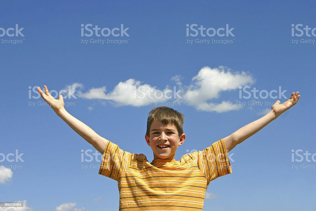 Boy in the Sky royalty free stockfoto