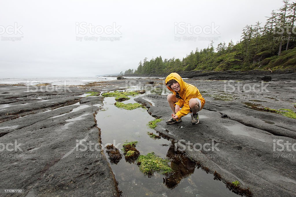Boy in yellow raincoat crouched by a tidal pool stock photo