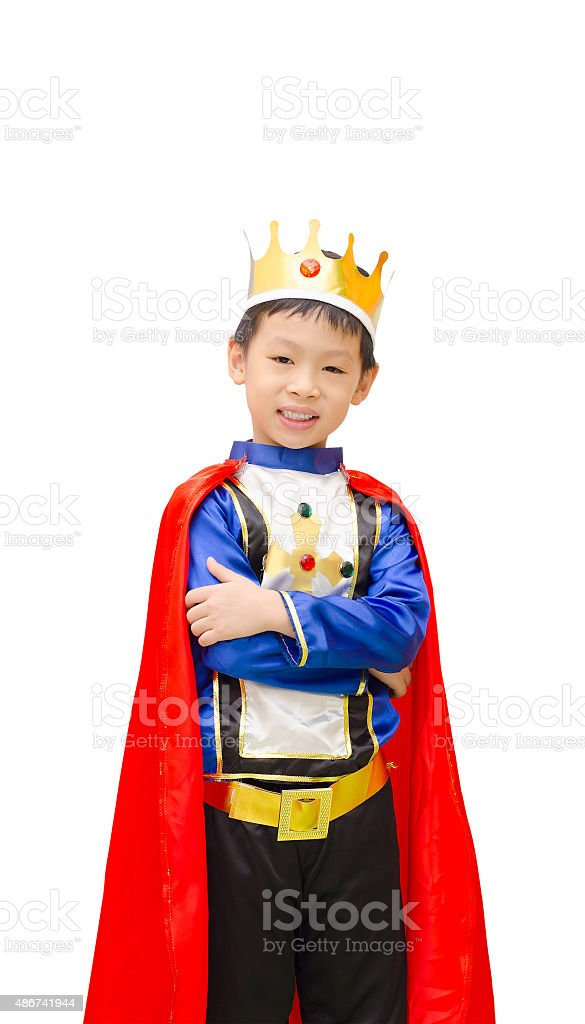 boy is dressed in suit of a prince stock photo
