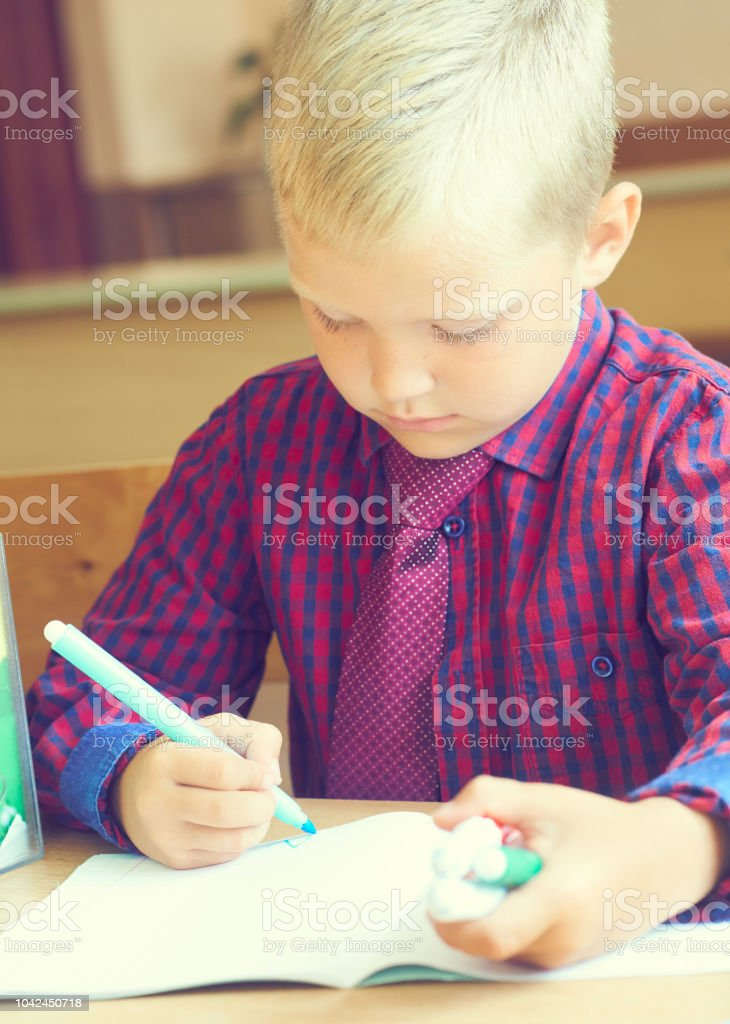 Boy Is Painting A Picture A Beautiful Child With Felttip ...