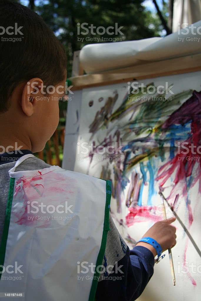 boy is painting royalty-free stock photo
