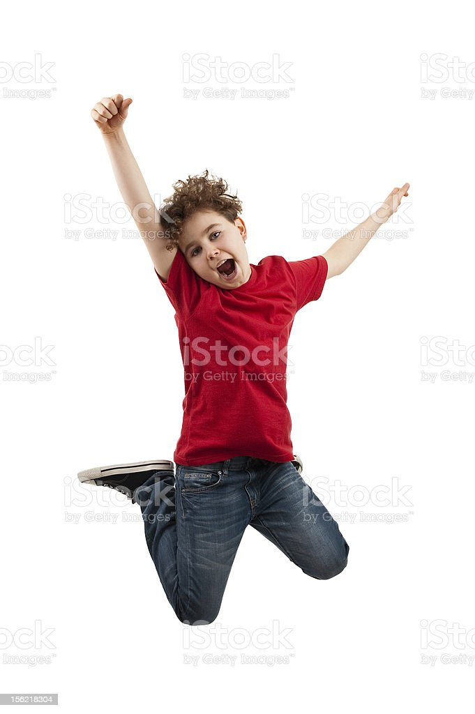 Boy jumping isolated on white background stock photo