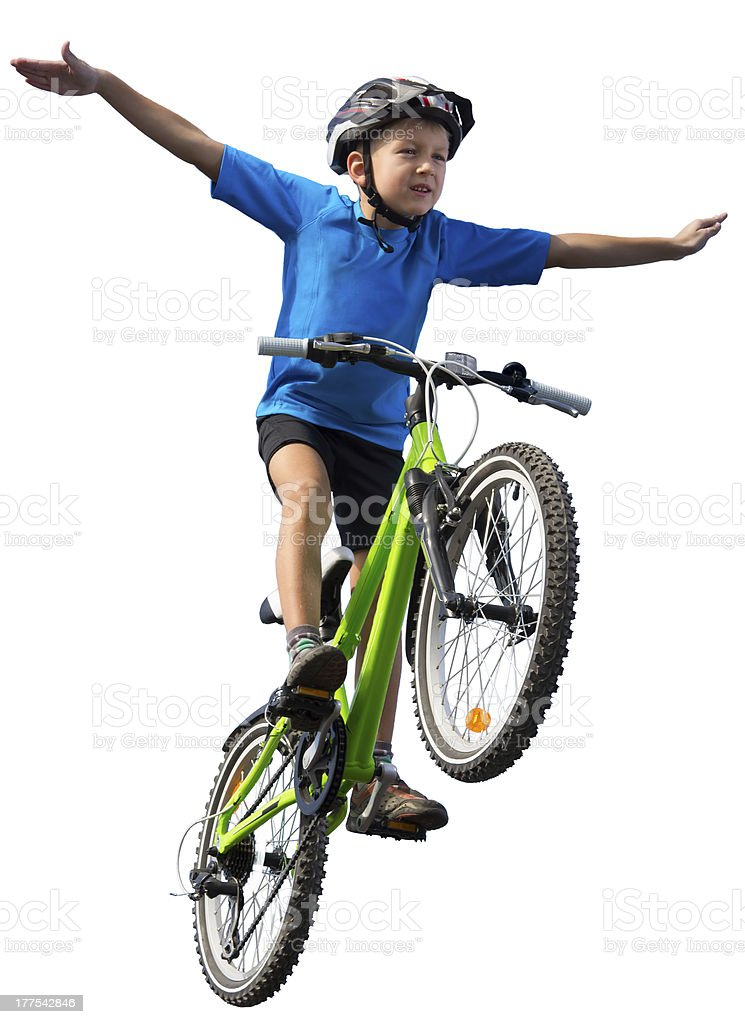 Boy jumping on bike stock photo
