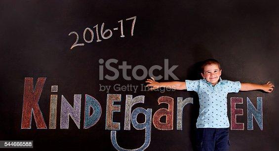 istock Boy Kindergartener on chalkboard 544666588