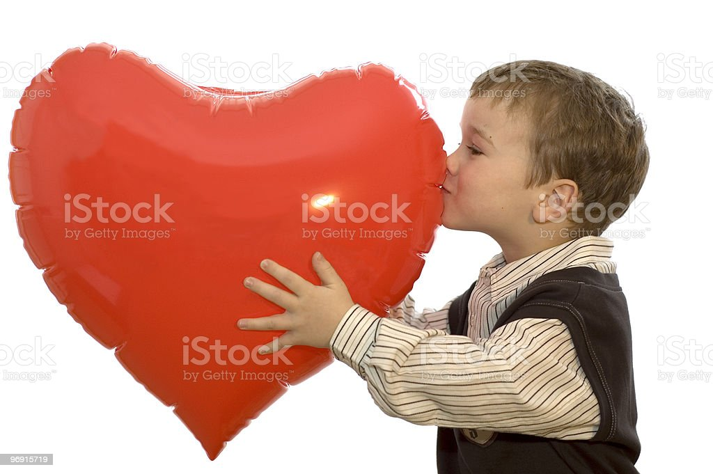 Boy Kissing Heart royalty-free stock photo