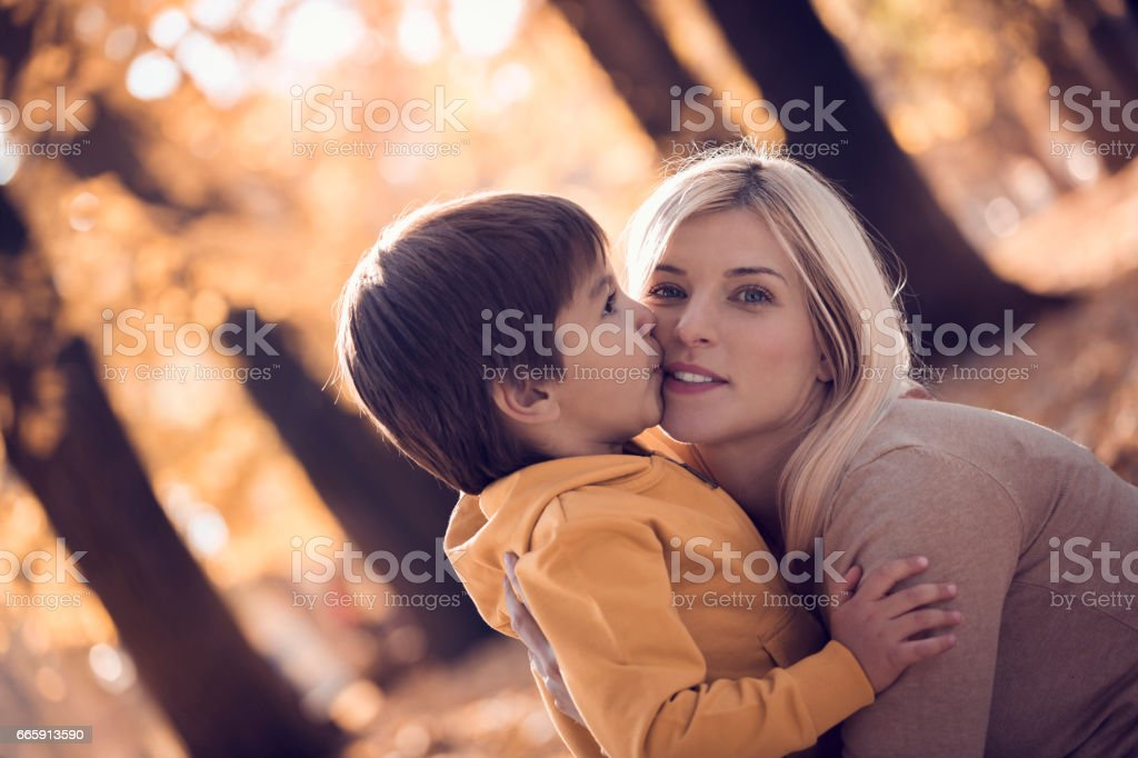Boy kissing his mother in park foto stock royalty-free